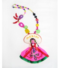 I Love Mexico Senorita Doll Necklace